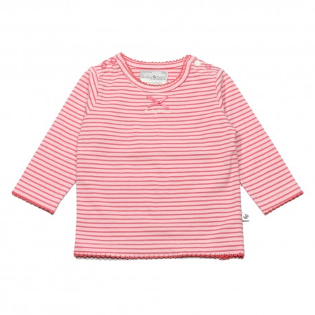 Ducky Beau t-shirt long-sleeved girl coral pink striped
