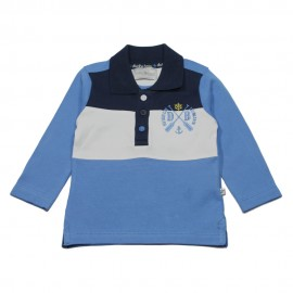 DUCKY BEAU Polo shirt long-sleeved boy blue and white