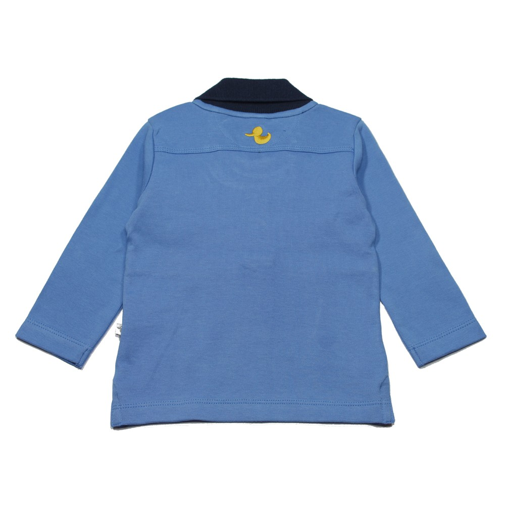 Ducky beau polo shirt long sleeved boy blue and white for Blue and white long sleeve shirt