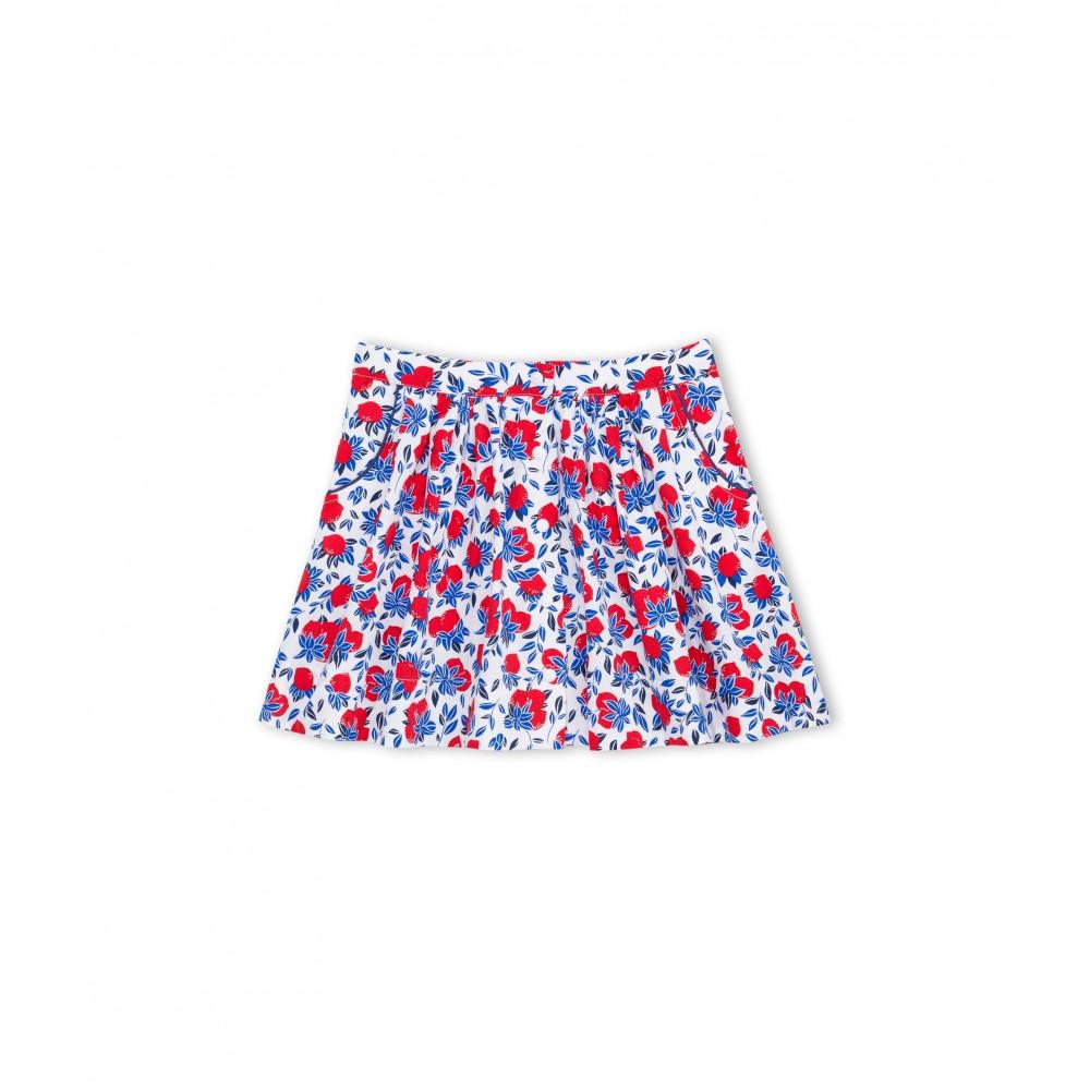 019b4cce25 PETIT BATEAU Wide piqué cotton summer skirt girl in red lemons print