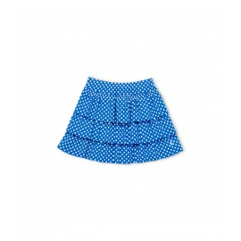 PETIT BATEAU Skirt with gathered ruffles girl cobalt blue with white polka dots