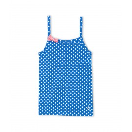 PETIT BATEAU Top with straps girl cobalt blue with white polka dots