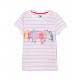 PETIT BATEAU T-shirt short-sleeved girl white striped with lovebirds in pastel