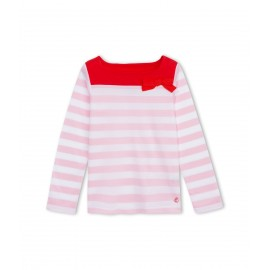 PETIT BATEAU T-shirt long-sleeved with boat neck girl striped pink and white