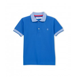 PETIT BATEAU Polo shirt short-sleeved boy cobalt blue