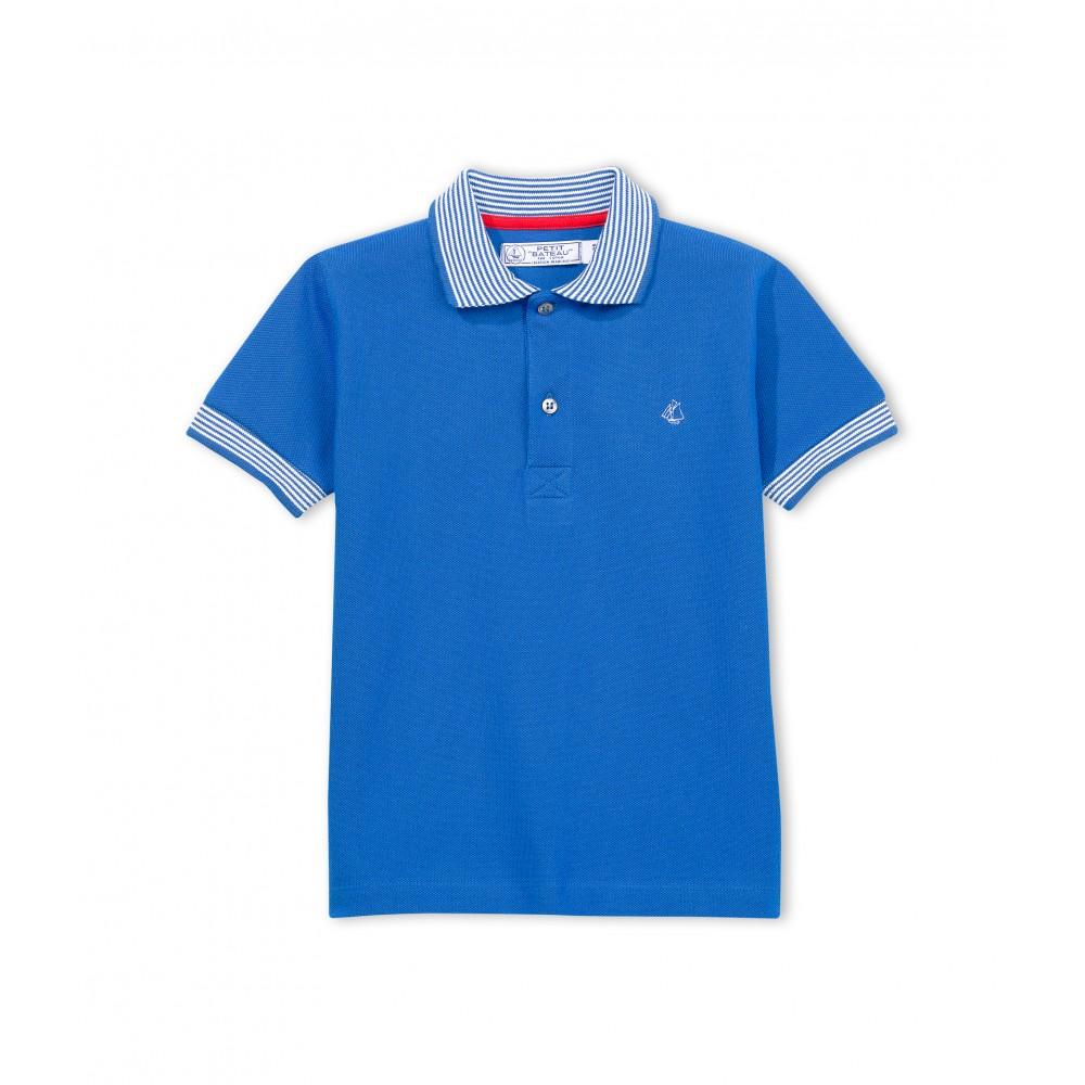 Petit bateau polo shirt short sleeved striped collar boy for Cobalt blue polo shirt