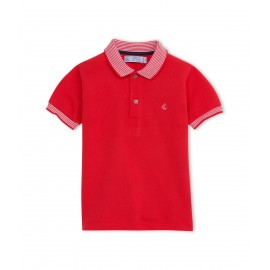 PETIT BATEAU Polo shirt short-sleeved boy signal red