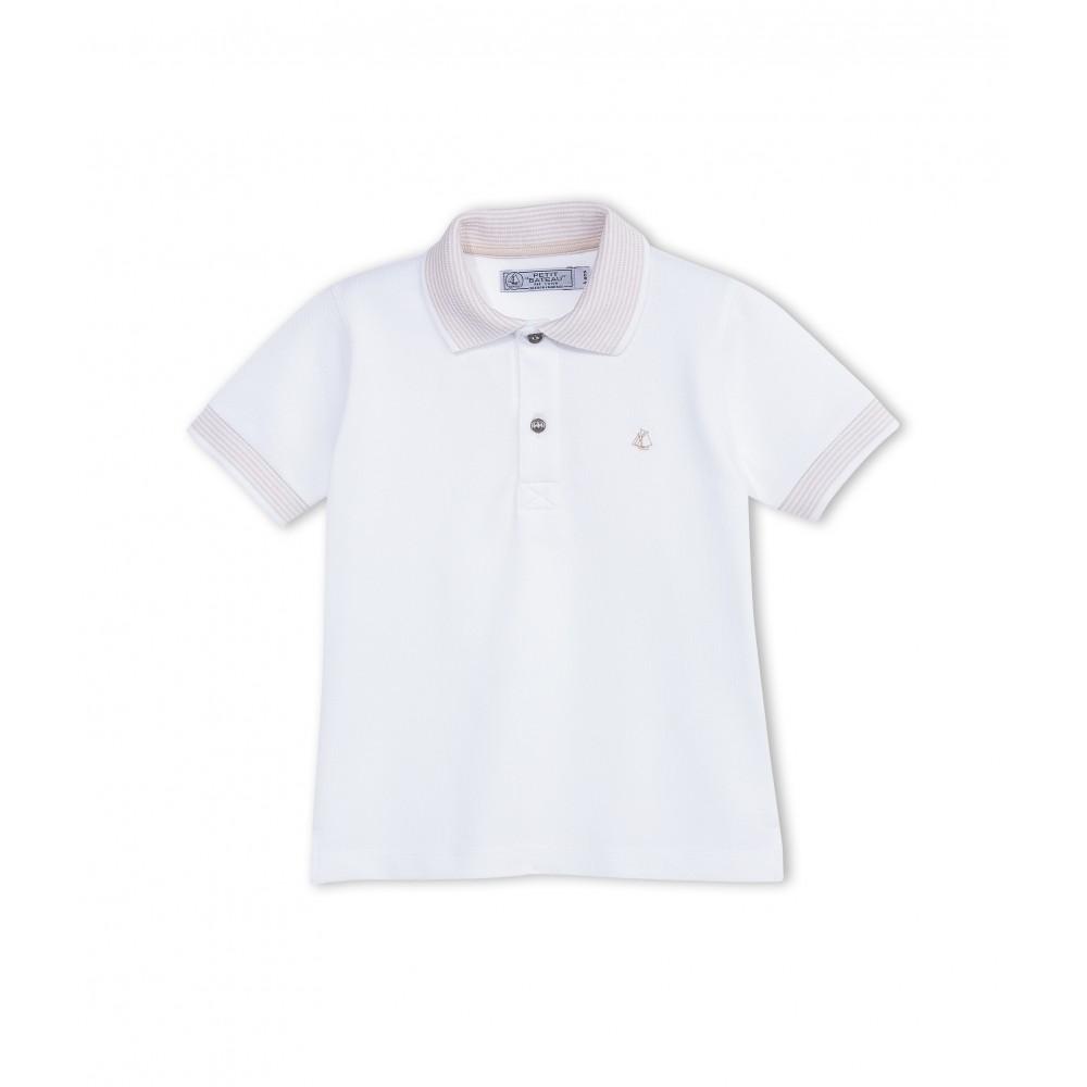Petit Bateau Polo Shirt Short Sleeved Beige Striped