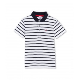 PETIT BATEAU Polo shirt short-sleeved boy white and dark blue marinière