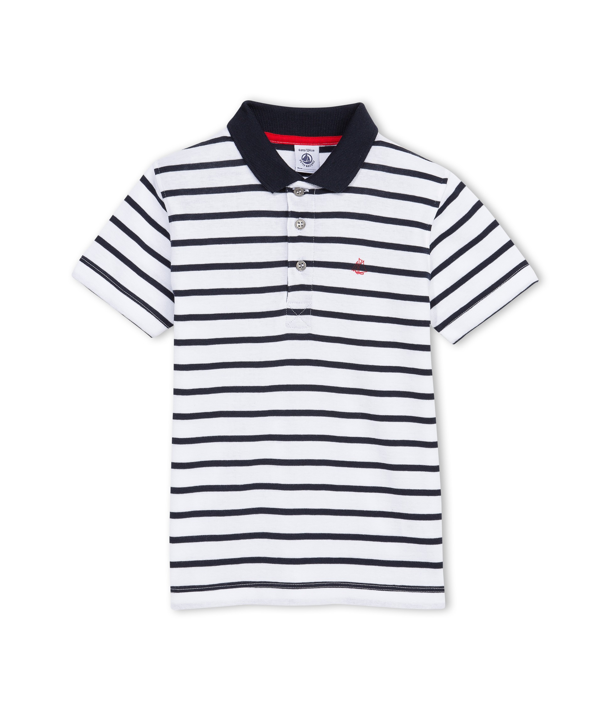 3dd47878af PETIT BATEAU Polo shirt short-sleeved boy white & dark blue marinière