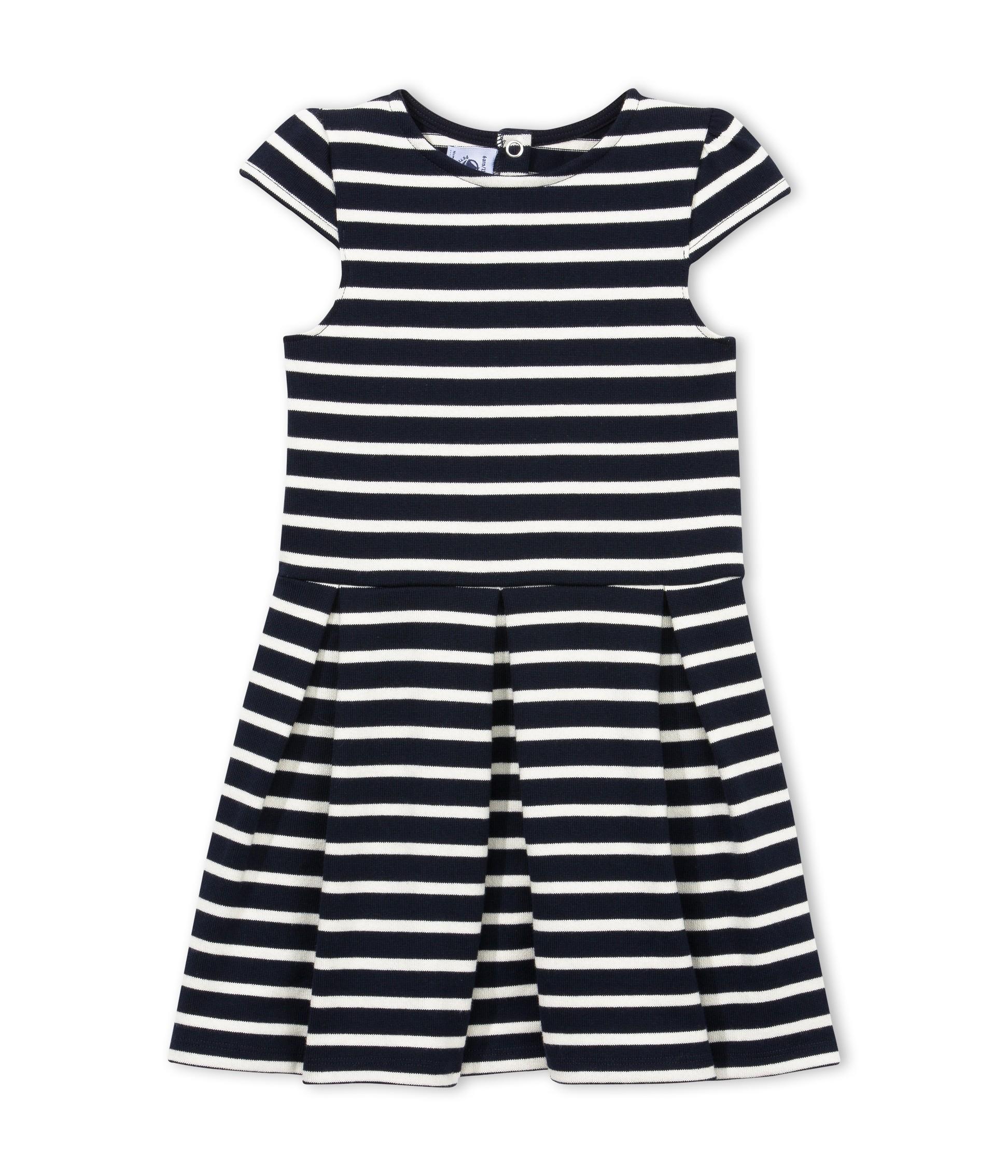 49100050cca41 PETIT BATEAU Robe marinière pour fille en jersey lourd bleu foncé rayé