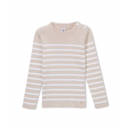 PETIT BATEAU Pullover round neck boy beige and offwhite marinière