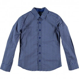 CKS Shirt boy print grey / cobalt blue