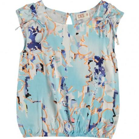 CKS Blouse girl multicolor print light blue