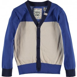CKS Cardigan V-neck boy tricolor blue and white