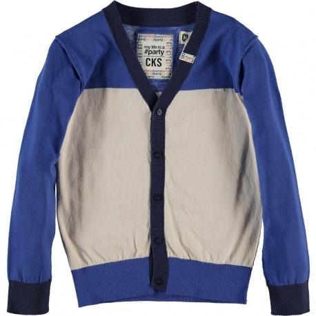 CKS Cardigan boy tricolor blue