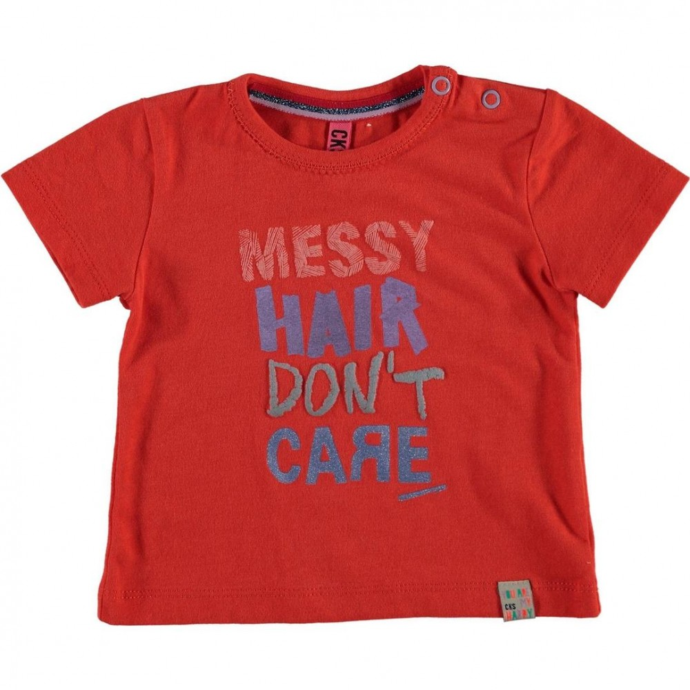 Cks T Shirt Short Sleeved Baby Girl In Cotton Red And
