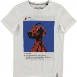 CKS T-shirt short-sleeved boy white with dog print