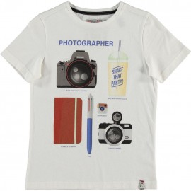 CKS T-shirt short-sleeved boy white with multicolor photographer print