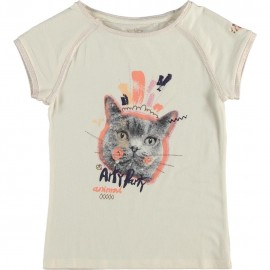 CKS T-shirt short-sleeved girl offwhite with multicolor print