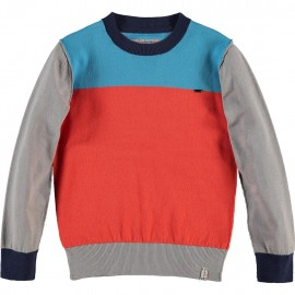 CKS Pullover boy turquoise tricolor orange-red and grey