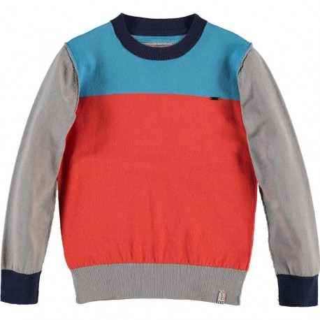 ... Pullover été garçon orange-rouge tricolore turquoise & gris clair
