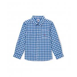 PETIT BATEAU Shirt long-sleeved boy vichy diamond cobalt blue and white