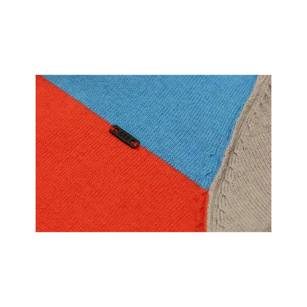 Cks pullover t gar on orange rouge tricolore turquoise gris clair for Accessoires garcons turquoise et gris