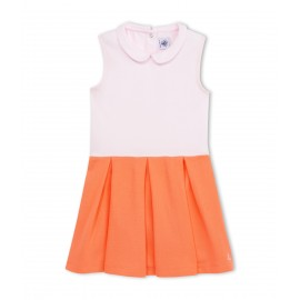 PETIT BATEAU Dress sleeveless girl light orange and light pink