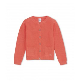 PETIT BATEAU Cardigan round neck cotton girl coral red