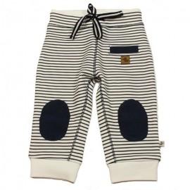 6e4693c745148 DUCKY BEAU Pantalon jogging bébé garçon blanc avec rayures bleu foncé