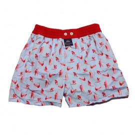 Mc ALSON Boxer short boy light blue with red surfers print