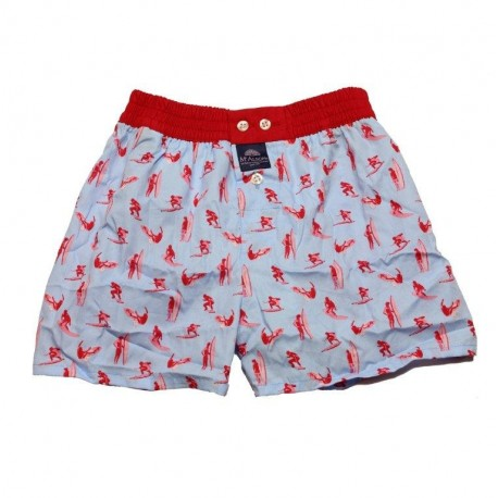 Mc ALSON Boxer short boy light blue with red surfer