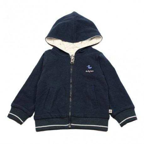 DUCKY BEAU Pullover hooded and reversible baby boy dark blue