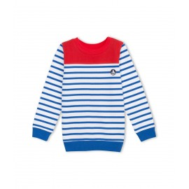 PETIT BATEAU Pullover round neck boy red with white and blue sailor stripes