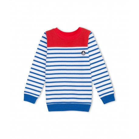 PETIT BATEAU Pullover boy red and blue lines