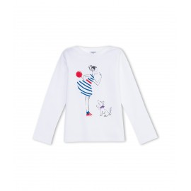 PETIT BATEAU T-shirt long-sleeved girl white with red and blue print
