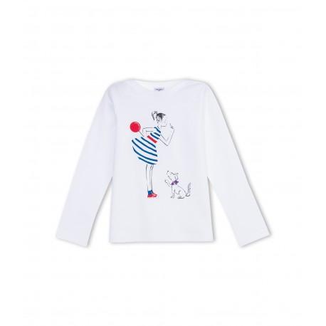 PETIT BATEAU T-shirt long sleeved girl offwhite dog