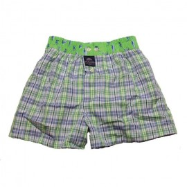 Mc ALSON Boxer short boy light blue and apple green with little squares