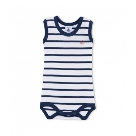 PETIT BATEAU Sleeveless bodysuit baby boy white and blue marinière