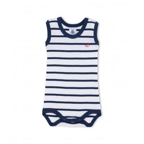 PETIT BATEAU Sleeveless bodysuit baby boy white and blue marinière