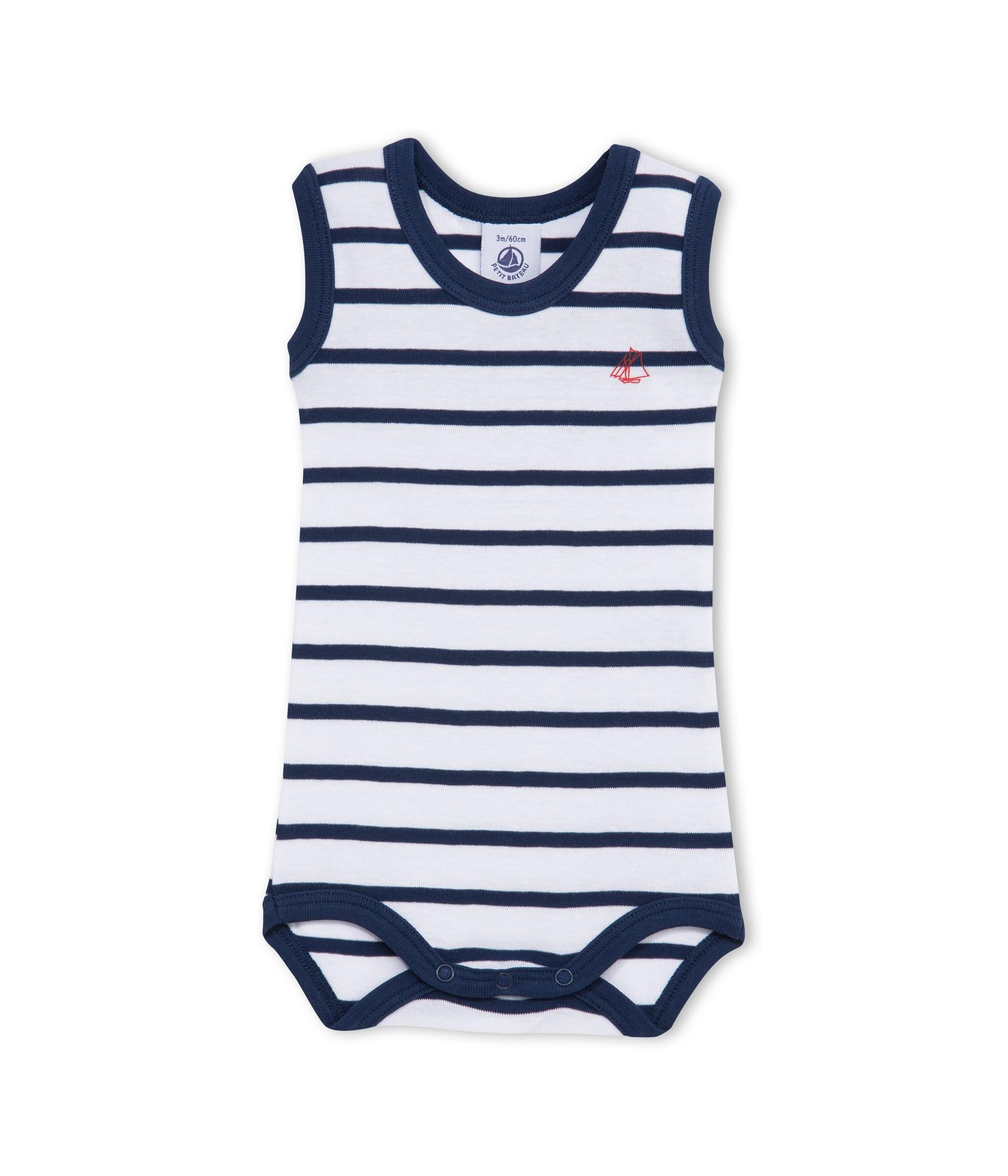 PETIT BATEAU body sans manches bébé garçon blanc   bleu rayé marinière 058d3279a17