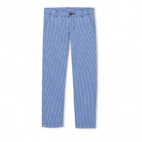 PETIT BATEAU Trousers slim fit boy striped cobalt blue and white