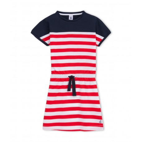 PETIT BATEAU Dress girl dark blue with red and white sailor stripes