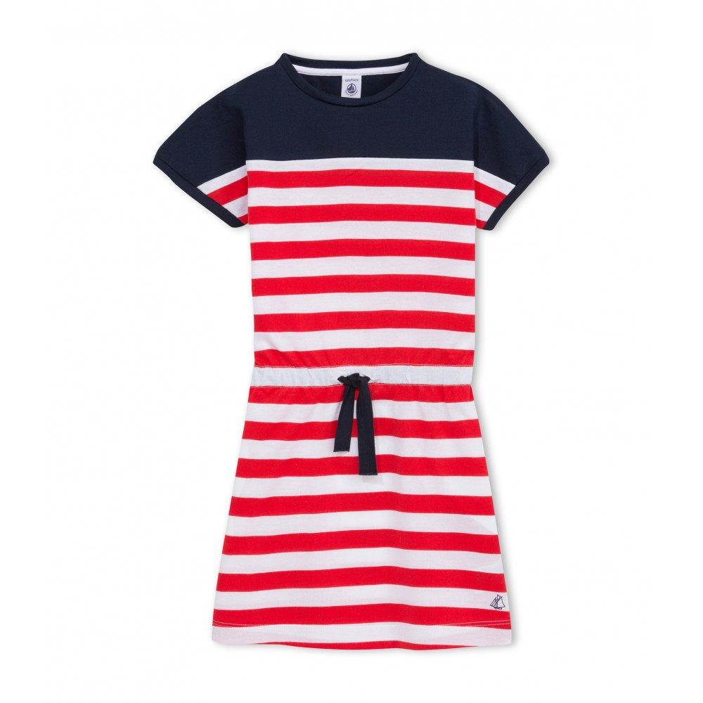 b1601858d5e PETIT BATEAU Dress girl dark blue with red and white sailor stripes