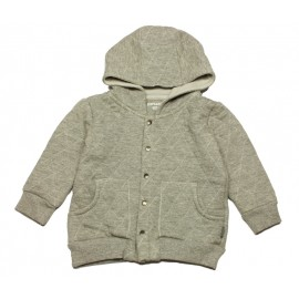 IMPS&ELFS Cardigan hooded organic cotton unisex mottled light grey