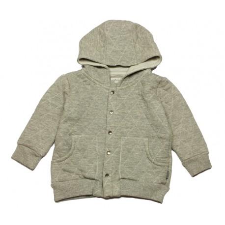 IMPS&ELFS Cardigan hooded organic cotton unisex mottled light grey