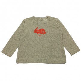 IMPS&ELFS T-shirt long-sleeved organic cotton girl mottled light grey