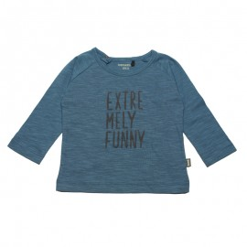 IMPS&ELFS T-shirt long-sleeved organic cotton boy & girl greyish blue with dark grey print