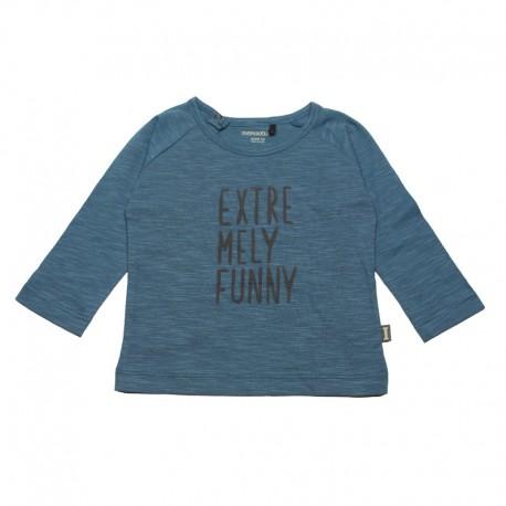 IMPS&ELFS T-shirt long-sleeved organic cotton boy & girl greyish blue with dark grey print